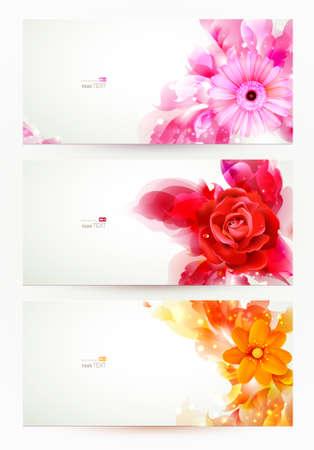 3 つのバナー、花と芸術のしみを持つ抽象的なヘッダーのセット  イラスト・ベクター素材