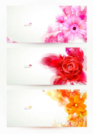 flores de cumplea�os: conjunto de tres banners, encabezados abstractos con flores y manchas art�sticas