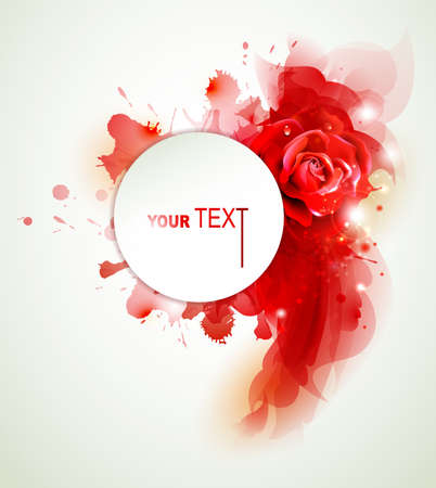 Abstract background with rose and red elements  Vector