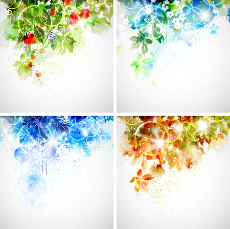 Set of four seasons background  Vector