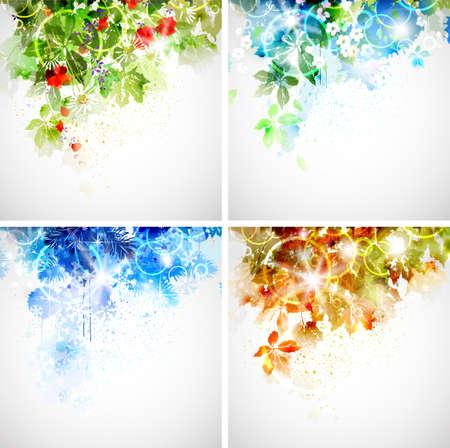 Set van vier seizoenen achtergrond