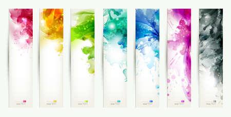 set van zeven veelkleurig banners, abstracte headers met vlekken Stock Illustratie
