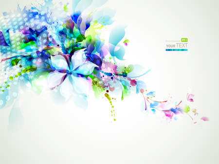 abstract composition with tender flowers  Vector