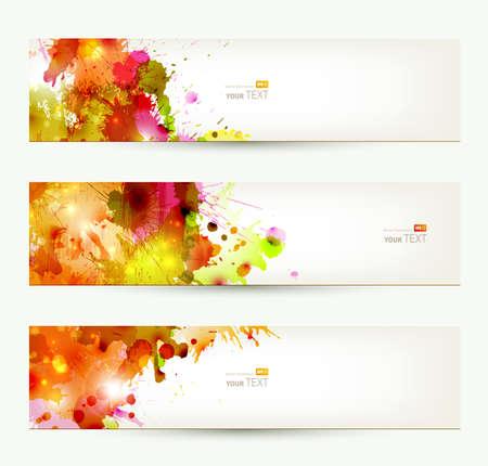 가을 색상의 세 가지 헤더 집합 추상 미술 배경