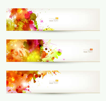 Set of three headers  Abstract artistic Backgrounds of autumn colors