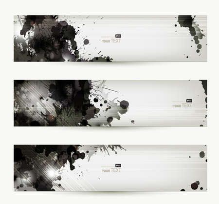 splatter: Resumen grunge encabezados artísticas Vectores