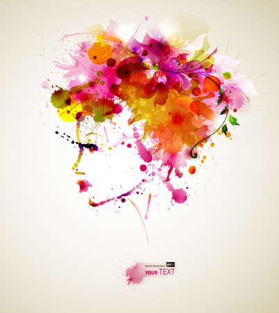 時尚: 美麗的時尚女性與抽象的頭髮和設計元素