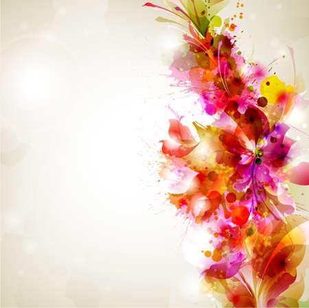 Abstraktní pozadí s květinovými a designové prvky