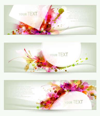 Set van drie headers achtergronden artistiek Stock Illustratie