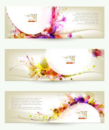 sfondo acquerello: Set di tre intestazioni artistico backgrounds Vettoriali