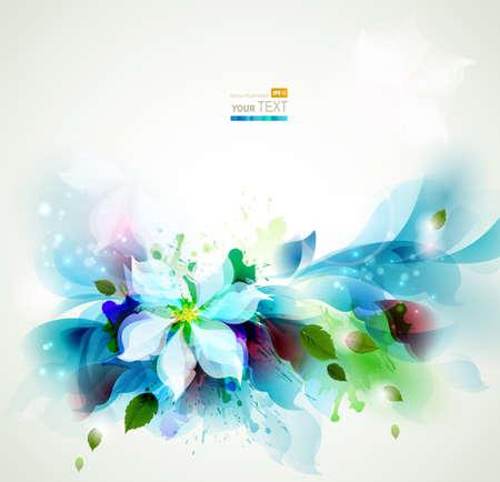 Abstrakte blaue künstlerischen Hintergründe mit floralen