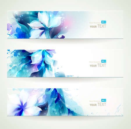 set of three seasons headers Stock Vector - 25203393