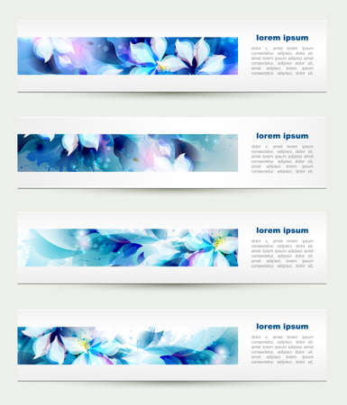 Set of four headers  Abstract blue artistic Backgrounds  Vector