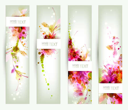 Set of four headers  Abstract artistic Backgrounds  Vector