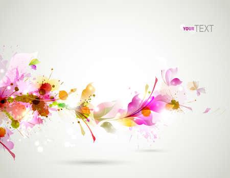 Résumé de fond avec la branche de floral Banque d'images - 25183672