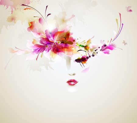 maquillaje de ojos: Mujeres hermosas de moda con elementos de diseño abstracto Vectores