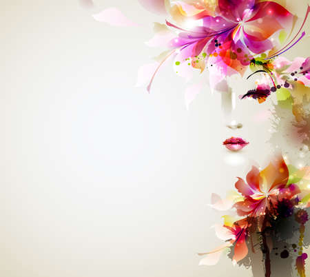watercolours: Mujeres hermosas de moda con elementos de dise�o abstracto Vectores