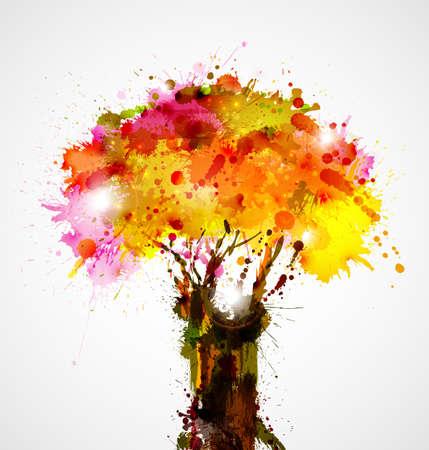 herfst abstracte boom vormen door blots