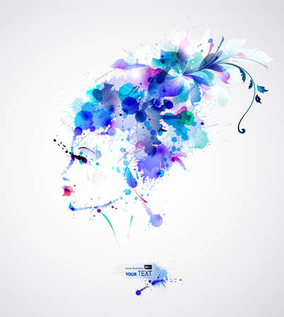 watercolours: Beautiful fashion women with blue abstract hair and design elements