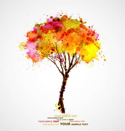 抽象的な: 秋の抽象的な木のしみによって形成