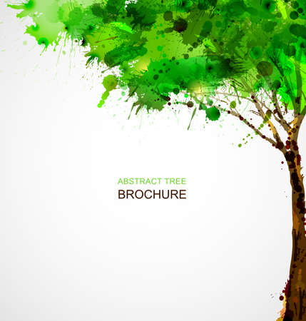 paint brushes: Green abstract tree forming by blots
