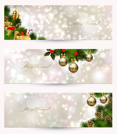 set of three light Christmas banners with vitality cones, fir tree and balls  Vector