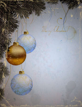 greetingcard: vintage Christmas greeting-card with three evening balls and fir-tree