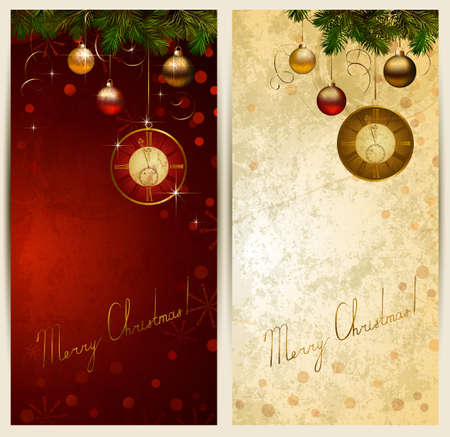 midnight: Two Christmas backgrounds with midnight clock  Illustration