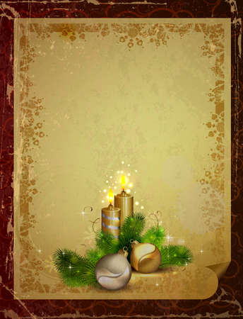 greetingcard: vintage Christmas greeting-card with two candles and baubles Illustration