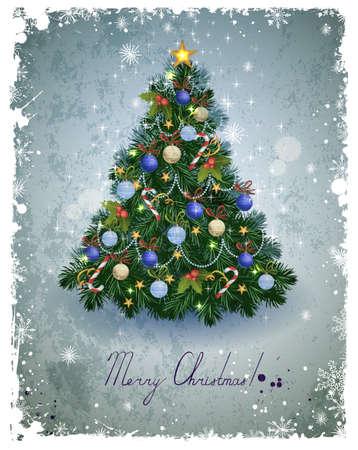 크리스마스 전나무 트리와 빈티지 인사말 카드