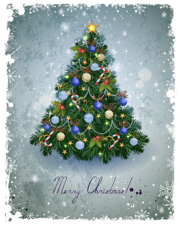 christmas backdrop: vintage greeting-card with Christmas fir-tree  Illustration