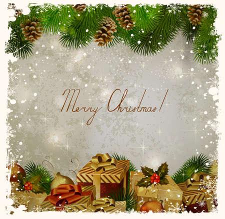 -carte de voeux de Noël de cru avec sapin et cadeaux