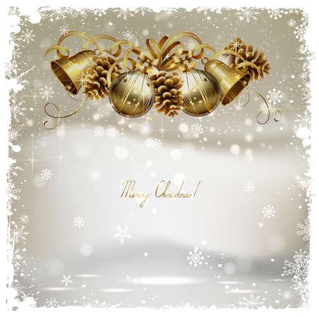 Natale saluto carta vintage con coni, campane e palline