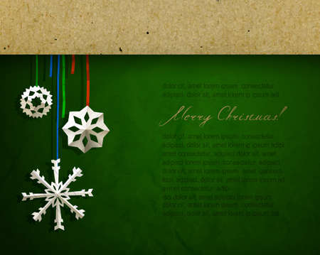 christmas cover: Vintage Christmas poster with cut snowflakes