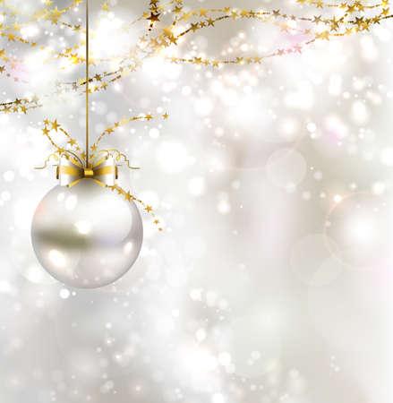 Fond de Noël avec boule de lumière de la lumière du soir Banque d'images - 25161694