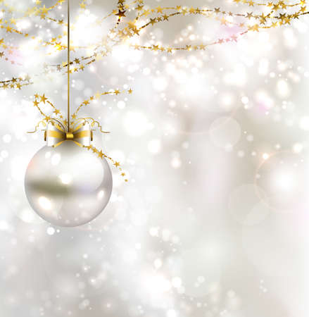 La luz de fondo de Navidad con la bola de la noche la luz Foto de archivo - 25161694