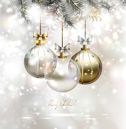 silver christmas: light Christmas background with three evening balls