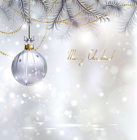 evening ball: Shiny Christmas background with evening ball Illustration