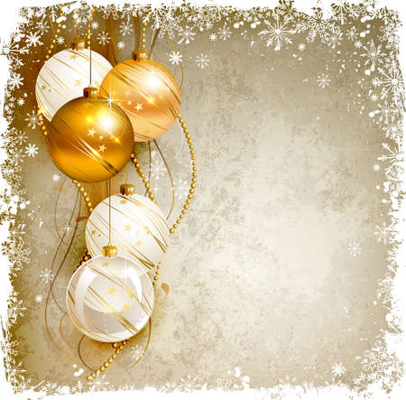 christmas backdrop: elegant Christmas background with gold and white evening baubles  Illustration