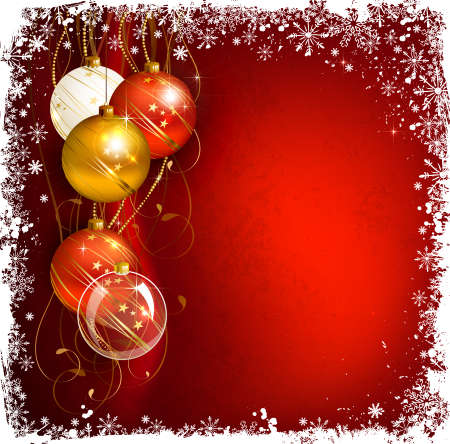 red Christmas background with evening balls Vector