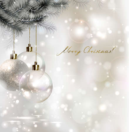 Shiny Christmas background with three evening balls Illustration