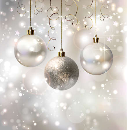 silver balls: light Christmas background with evening balls
