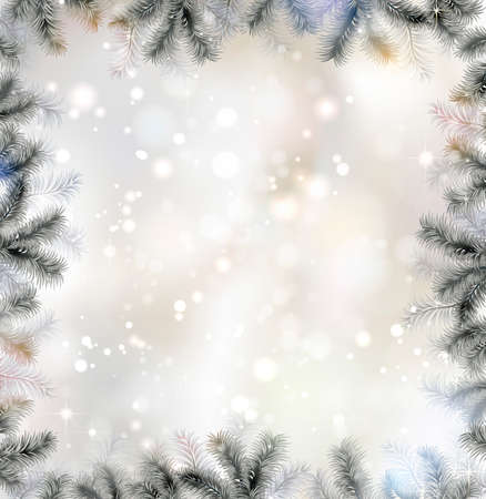 spurs: Shiny Christmas background with fir-tree frame