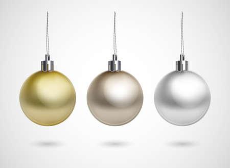 christmas  ornament: Set of three evening balls  Gold, silver, bronze symbol