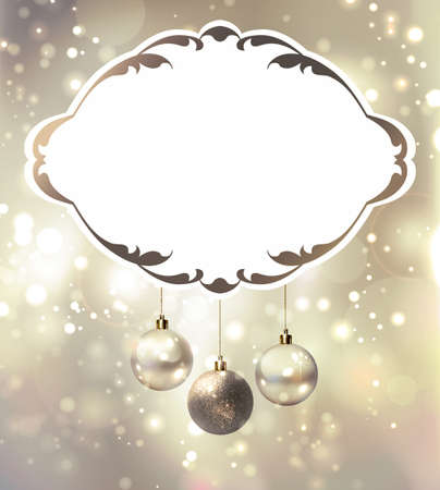 glimmered: elegant glimmered Christmas poster with evening balls  Illustration
