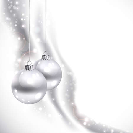glimmered: good-looking white Christmas background with two balls  Illustration