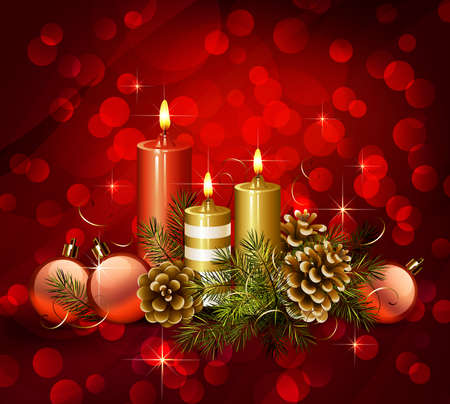 Christmas background with burning candles and pine cones  Illustration
