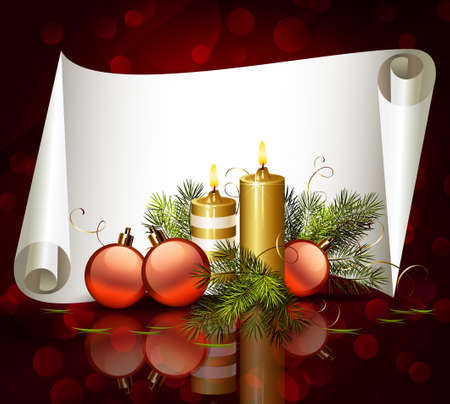 glimmered: Christmas background with burning candles and Christmas bauble