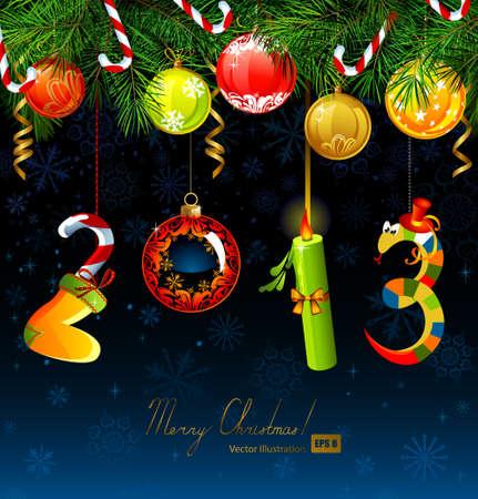 dangle: Numeri divertenti di nuovo anno appeso a un albero di abete