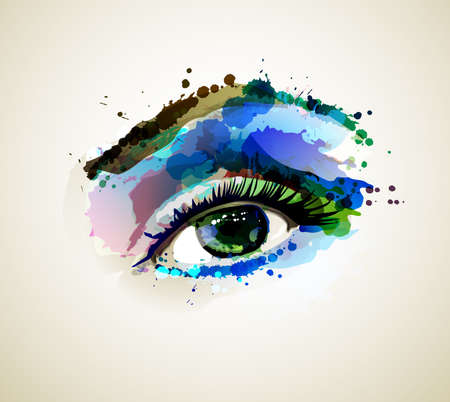 artistic woman: Beautiful fashion woman eye forming by blots